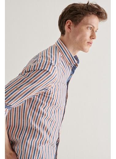 Avva Erkek  Çizgili Gömlek A11Y2012 Oranj